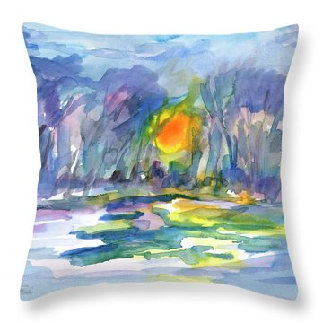 Throw Pillow featuring the painting Winter Morning Landscape by Dobrotsvet Art