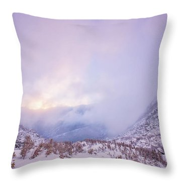 Winter Morning Light Tuckerman Ravine Throw Pillow