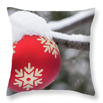 Throw Pillow featuring the photograph Winter Scene - Red Christmas Ball Outside, With Snow On It by Cristina Stefan