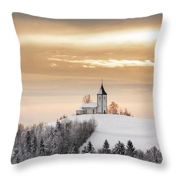 Winter Sunrise At Jamnik Church Of Saints Primus And Felician Throw Pillow
