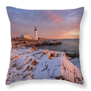 Winter Sunrise At Portland Head Light Throw Pillow