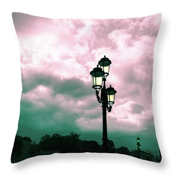 Winter Venice Lantern On The Embankment Throw Pillow