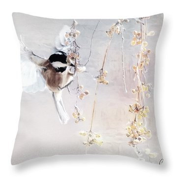 Winter Visitor Throw Pillow