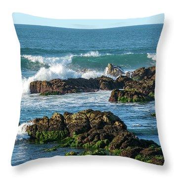 Winter Waves Hit Ancient Rocks No. 1 Throw Pillow