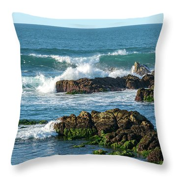 Winter Waves Hit Ancient Rocks No. 1 Throw Pillow