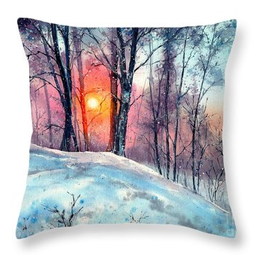 Winter Woodland In The Sun Throw Pillow