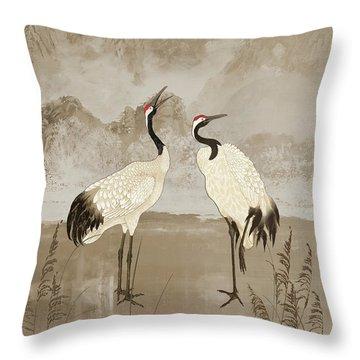 Wintering Manchurian Cranes Throw Pillow