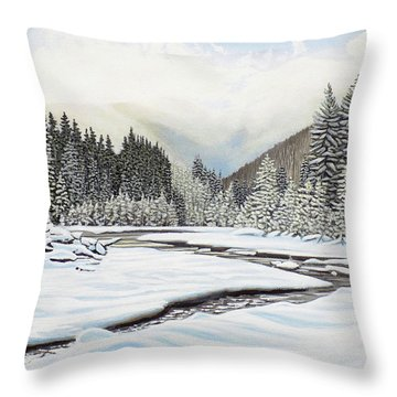 Throw Pillow featuring the painting Winterland by Kenneth M Kirsch