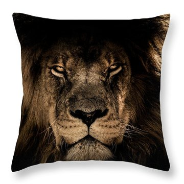 Wise Lion Throw Pillow