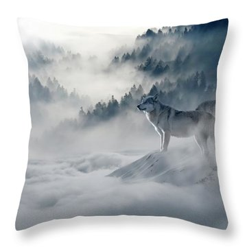 Wolfs In The Snow Throw Pillow