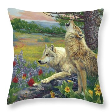 Wolves In The Spring Throw Pillow