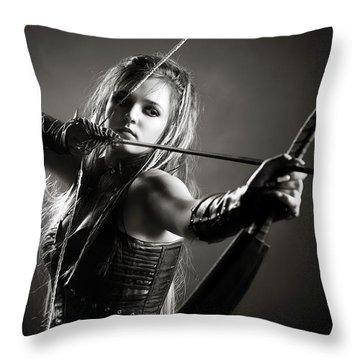 Woman Archer Aiming Arrow Throw Pillow