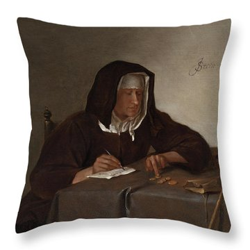 Woman Counting Coins Throw Pillow