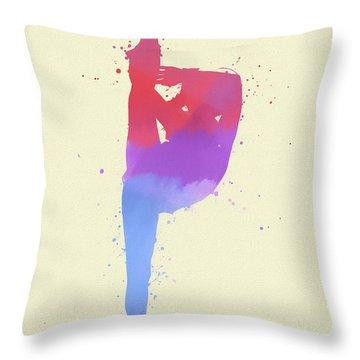 Woman Figure Skater Paint Splatter Throw Pillow