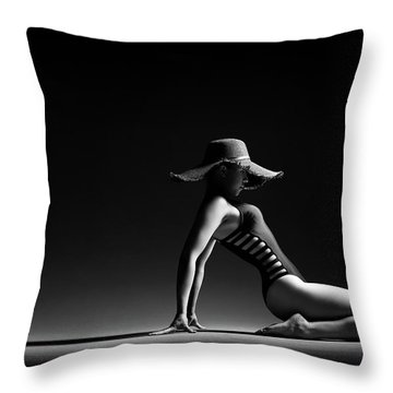 Woman In Black Costume Throw Pillow