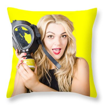 Woman In Fear Holding Gas Mask On White Background Throw Pillow