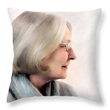 Woman In Grey Throw Pillow
