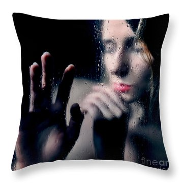 Woman Portrait Behind Glass With Rain Drops Throw Pillow
