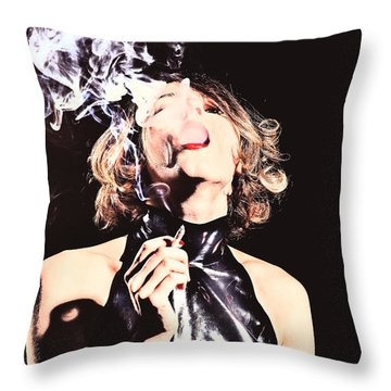 Woman Smoking A Cigarette Throw Pillow