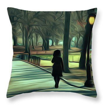 Woman Walking In Central Park Throw Pillow