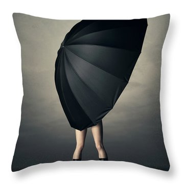 Woman With Huge Umbrella Throw Pillow