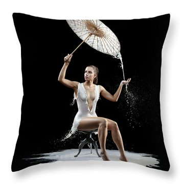 Woman With Milk Dress Throw Pillow