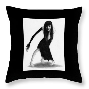 Woman With The Black Arm Of Demon Ghost - Artwork Throw Pillow