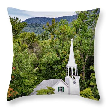 Throw Pillow featuring the photograph Wonalancet Union Chapel by Betty Pauwels