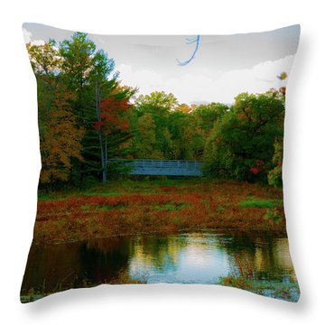 Wood Bridge In The Fall Throw Pillow