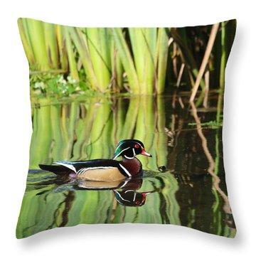 Wood Duck Reflection 1 Throw Pillow