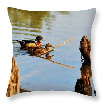 Throw Pillow featuring the photograph Wood Ducks by Debbie Stahre