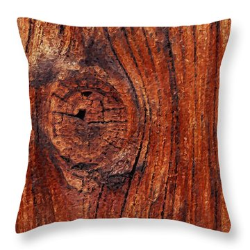 Throw Pillow featuring the digital art Wood Knot by ISAW Company
