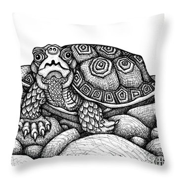 Wood Turtle Throw Pillow