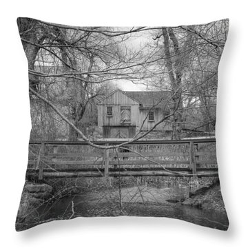 Wooden Bridge Over Stream - Waterloo Village Throw Pillow