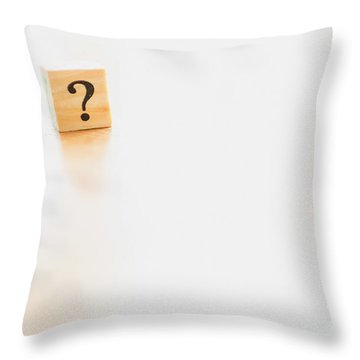 Wooden Dice With Question Mark And Doubt. Throw Pillow