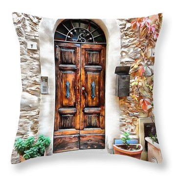 Throw Pillow featuring the photograph Wooden Door Pienza by Dorothy Berry-Lound