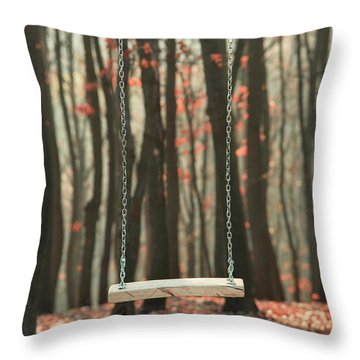 Wooden Swing In Autumn Forest Throw Pillow