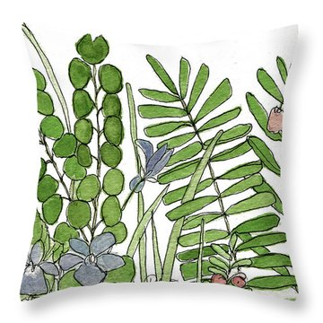 Woodland Ferns Violets Nature Illustration Throw Pillow