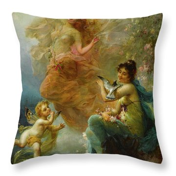 Woodland Nymphs By A Stream Throw Pillow