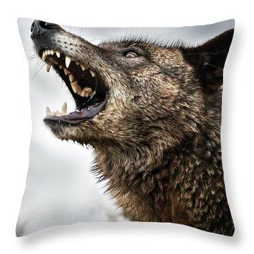Woof Wolf Throw Pillow