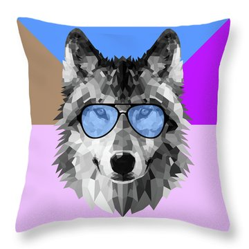 Woolf In Blue Glasses Throw Pillow