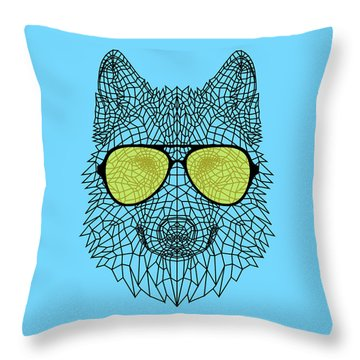 Woolf In Yellow Glasses Throw Pillow