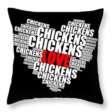 Word Cloud White Love Chickens Throw Pillow