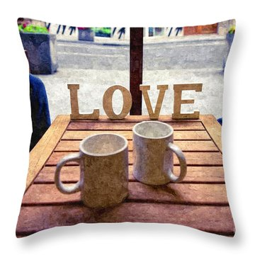 Word Love Next To Two Cups Of Coffee On A Table In A Cafeteria,  Throw Pillow