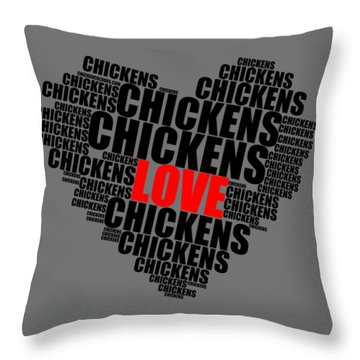 Wordcloud Love Chickens Black Throw Pillow