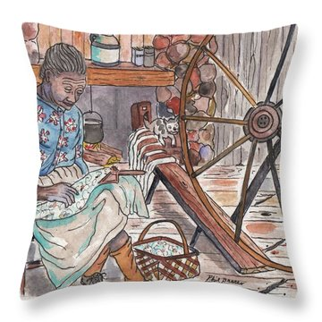 Working Cotton The Old Fashioned Way Throw Pillow