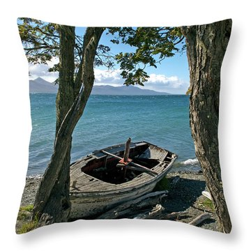 Wrecked Boat Patagonia Throw Pillow