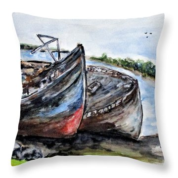 Wrecked River Boats Throw Pillow
