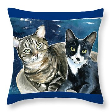 Xani And Zach Cat Painting Throw Pillow
