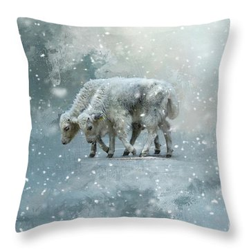 Yaks Calves In A Snowstorm Throw Pillow